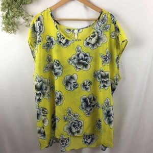 Live 4 Truth Yellow Floral Sheer Blouse Top 🌿
